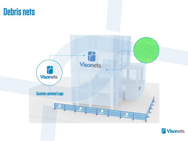 Protective net – Debris net system – Protective net – Formwork net – Knotless polypropylene one layer VISORNETS