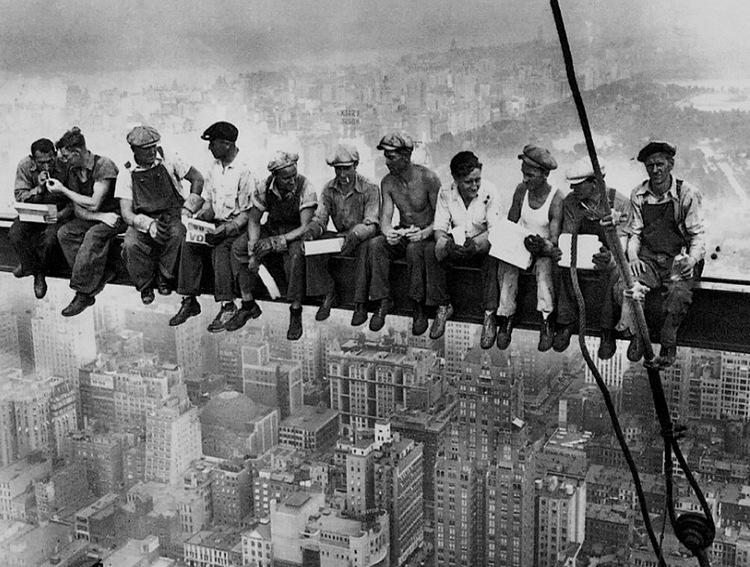 Collective Safety Nets - Lewis Hine - Rockefeller Center Construction Site - VISORNETS